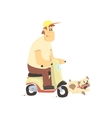 Man On Scooter With Dog vector image