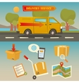 Delivery Service Cargo Truck with Set of Elements vector image