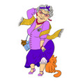 big fashion grandmother with cat and dog vector image