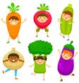 kids dressed like vegetables vector image