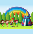 many children camping out in park vector image