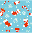 New year seamless background card socks vector image