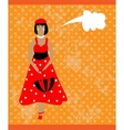 Retro card with girl in red vector image