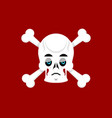 skull and crossbones sad emoji skeleton head vector image