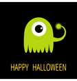 Happy Halloween greeting card Green monster with vector image