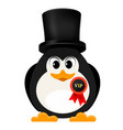 abstract penguin is free of charge with a badge vector image vector image
