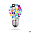 Bulb with application icons vector image vector image