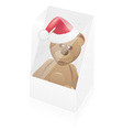 new year packing box with toy bear vector image vector image