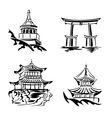 asian temples vector image