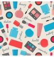 Seamless pattern with cosmetics and text vector image