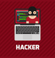 hacker coding bug on laptop icon vector image