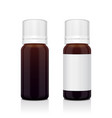 realistic essential oil brown bottle set mock up vector image