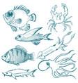 set of underwater life vector image