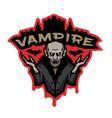 vampire emblem on a dark background vector image