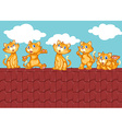 Five kittens on the red roof vector image
