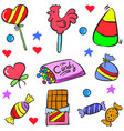 doodle of candy food various vector image