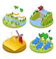 isometric ecology concept renewable energy vector image