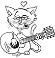 cat in love cartoon coloring page vector image