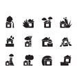Silhouette home and house insurance and risk icons vector image