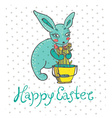 Easter card with rabbit and flowers vector image vector image