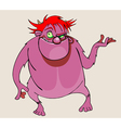 cartoon character pink scary beast vector image vector image