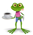 Frog with cup of coffee vector image vector image
