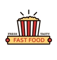 Takeaway popcorn bucket retro thin line symbol vector image