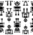 Cute retro robots black silhouette pattern vector image vector image