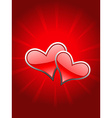 Beautiful red heart in glowy background vector image