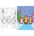 Coloring Book Of Children Sing Christmas Carols vector image