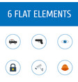 Flat icons camera gun vision and other vector image