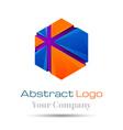 Hexagon square geometric shape Colorful 3d Volume vector image