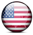 Map on flag button of United States of America vector image