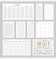 paper sheets with empty schedule notes and charts vector image