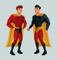 two superhero male justice with super suit vector image