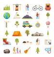 travel rest symbols tourist accessories icons set vector image