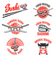 set of sushi labels japanese seafood samurai vector image