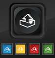 Upload icon symbol Set of five colorful stylish vector image