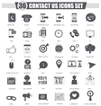 contact us support black icon set Dark vector image