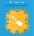 Guitar icon sign Floral flat design on a blue vector image