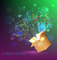 Open Box With fireworks from confetti vector image