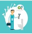 plumber repairing a toilet vector image