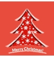 Red paper tree with snow vector image