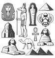 vintage ancient egypt elements set vector image