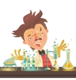 Bushy haired mad professor in lab coat vector image