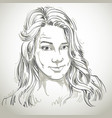 hand-drawn portrait of white-skin skeptic woman vector image
