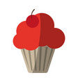 cupcake garnished with cherry icon image vector image