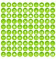 100 success icons set green circle vector image