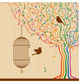 Birdcage On The Musical Tree vector image