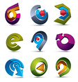 3d simple navigation pictograms collection Set of vector image
